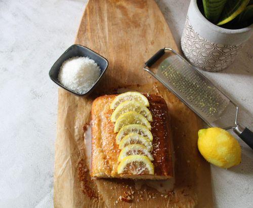 Lemon and coconut loaf cake