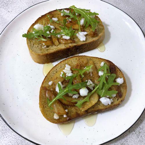 Pear and feta toast