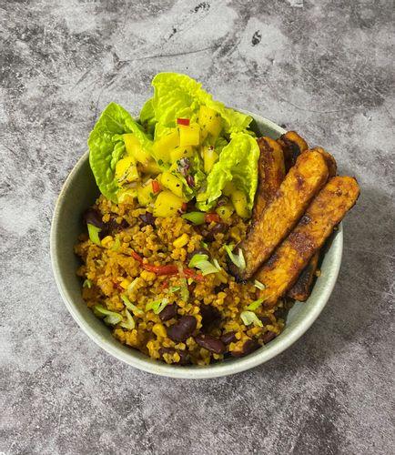Rainbow protein bowl